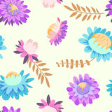Autumn flowers. Vector floral seamless pattern. Hand drawn illustration with asters and herbs Royalty Free Stock Photo