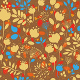 Autumn Flowers. Vector Seamless Pattern Stock Photos