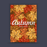 Autumn flyer with colorful leaves with space for your text. Banner design for print. Vector illustration. Royalty Free Stock Photography