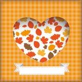 Autumn Flyer Foliage Heart Hole Stock Photo