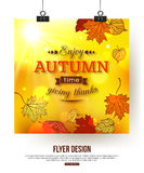 Autumn flyer with shining foliage. Vector illustration Royalty Free Illustration