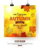 Autumn flyer with shining foliage Royalty Free Stock Photos