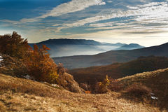 Autumn fog and the beautiful morning in the mounting Stock Images
