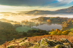Autumn Fog Lingering Over Loughrigg Tarn i det engelska sjöområdet royaltyfri bild
