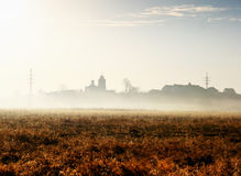 Autumn fog in the meadow Stock Photo
