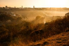 Autumn fog and morning sun in a landscape Stock Photo