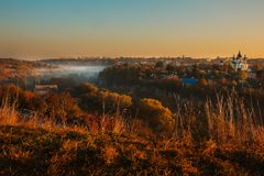 Autumn fog and morning sun in a landscape Royalty Free Stock Images