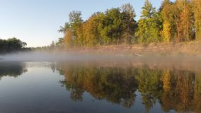 Autumn fog over the river. Hoper, Russia. Time-laps stock video