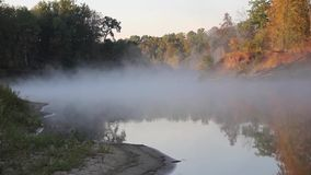 Autumn fog over the river. Hoper, Russia. Time-laps stock footage