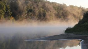 Autumn fog over the river. Hoper, Russia. Time-lapse stock footage