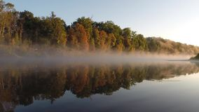 Autumn fog over the river. Hoper, Russia. Time-lapse stock video footage