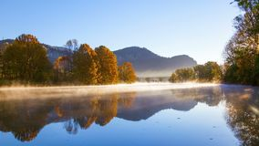 Autumn Fog River stock video footage