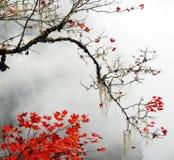 Autumn foggy day in mountains stock photo