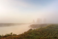 Autumn foggy morning. Dawn on the misty river Stock Images