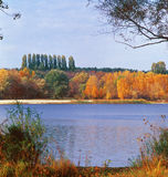 Autumn foliage. Autumn on lake. Kyiv region, Ukraine Stock Images