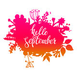 Autumn foliage abstract vector banner. Typographic greeting card design. Hello September.  vector illustration