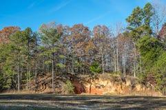 Autumn Foliage Background And Red Clay Terrain Lizenzfreie Stockbilder