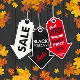 Autumn Foliage Black Wood 3 Arrow Price Stickers Black Friday Royalty Free Stock Photos