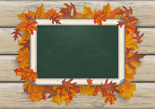 Autumn Foliage Blackboard Wood illustration de vecteur