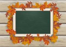 Autumn Foliage Blackboard Wood Stock Photo