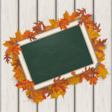 Autumn Foliage Blackboard Wooden Background Images stock