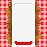 Autumn Foliage Checked Blanket Paper Banner Ribbon Stock Photo