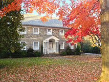 Autumn foliage at family house frontyard Stock Photography
