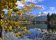 Autumn Foliage and Lassen Peak, Lassen Volcanic National Park Stock Photos