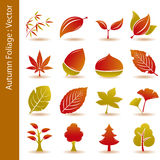 Autumn foliage leaf icons set Royalty Free Stock Photography