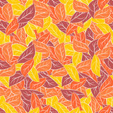 Autumn foliage in pastel colours. Vector seamless pattern for fa Royalty Free Stock Image