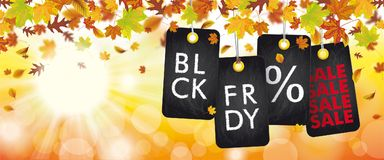 Autumn Foliage Price Stickers Header Sunbeam BLCK FRDY. Autumn foliage with black friday price stickers, sunlights and bokeh Stock Photo