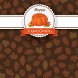 Autumn Foliage Pumpkin Thanksgiving Emblem Banner Stock Images