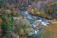 Autumn Foliage on the Roanoke River. Located in the Blue Ridge Mountains of Virginia, USA Stock Photo