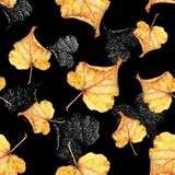 Autumn foliage 5. Seamless watercolor pattern. royalty free stock photo