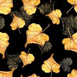 Autumn foliage 6. Seamless watercolor pattern. Hand-drawing royalty free stock photos