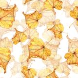 Autumn foliage 8. Seamless watercolor pattern. Hand-drawing stock image
