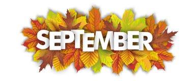 Autumn Foliage September Header White-Achtergrond stock illustratie