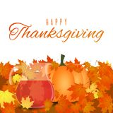 Autumn foliage Thanksgiving background. Vector greeting card isolated on white background Stock Image