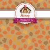 Autumn Foliage Thanksgiving Emblem Banner Turkey Stock Image
