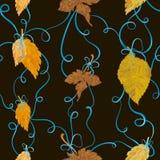 Autumn foliage tied with bows seamless backround Stock Photo