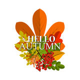 Autumn foliage vector banner. Autumn typographical Royalty Free Stock Image