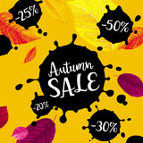 Autumn foliage vector sale banner. Autumn foliage showy vector banner with black ink labels for  sales and other events, for prints, posters, banners and parties Royalty Free Stock Photography
