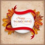 Autumn Foliage Vintage Emblem Thanksgiving Stock Photos