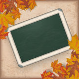 Autumn Foliage Vintage Green Blackboard Lizenzfreies Stockfoto