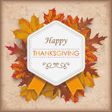 Autumn Foliage Vintage Hexagon Emblem Thanksgiving Stock Photos