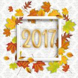 2017 Autumn Foliage White Frame Ornaments Wallpaper. Autumn foliage with white frame and numbers 2017 on the wallpaper with ornaments Stock Images