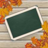 Autumn Foliage Wood Blackboard illustration stock