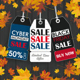 Autumn Foliage Wood 3 Price Stickers Black Friday Cyber Monday. Black friday and cyber monday price stickers on the wooden background Stock Photography