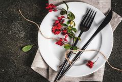 Set of cutlery with autumn decoration Royalty Free Stock Photography