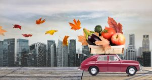 Autumn food delivery Stock Images